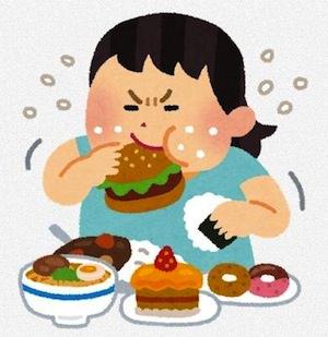 食べ過ぎの女性のイラスト