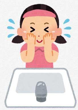 洗顔をしている女の子のイラスト