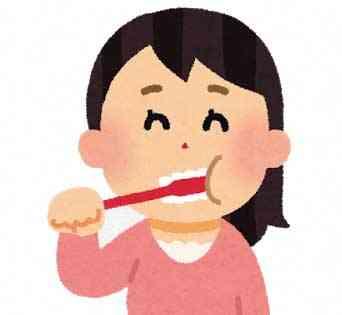 歯磨きをしている女性のイラスト