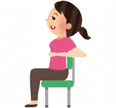 イスに座ってストレッチをしている女性のイラスト