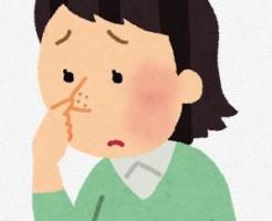 鼻のニキビを気にする女性のイラスト