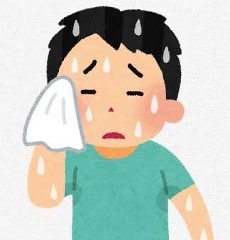 汗を拭いている男性のイラスト