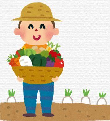 農作業している男性のイラスト