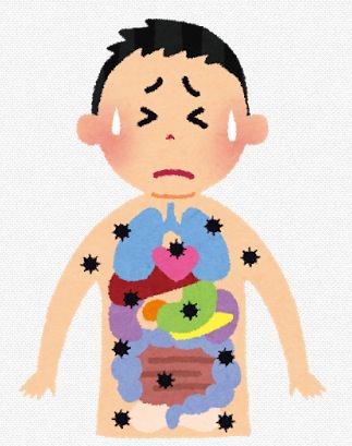 病気に冒された人のイラスト