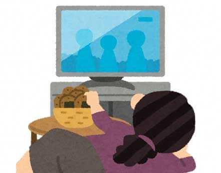 寝転んでテレビを見ているイラスト