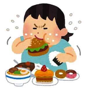 やけ食いしている女性のイラスト